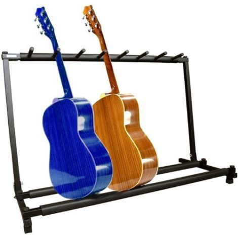 For The YMC Guitar Folding Stand Rack It Can Hold A Maximum Number Of Seven Different Types Guitars Its Dimensions Are Approximately 35 Inches In