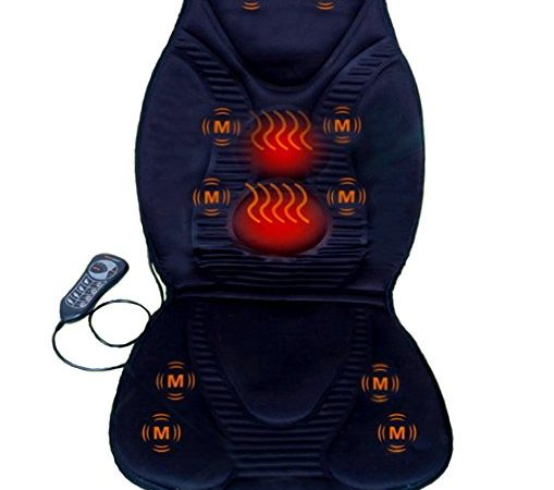 New Five Star FS8812 10-Motor Vibration Massage Seat Cushion with Heat - Neck - Shoulder - Back & Thigh Massager with Heat (Black)