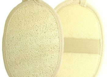 Kiloline Exfoliating Loofah Pads-2 Pack 100% Natural Luffa and Terry Cloth Materials Loofa Sponge Scrubber Brush Close Skin For Men and Women When Bath Spa and Shower