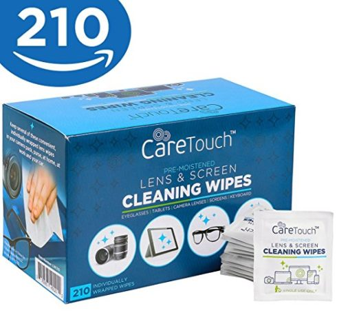 Care Touch Pre Moistened Lens Cleaning Wipes, 210 Individually Wrapped Wipes