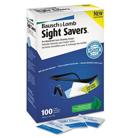 Bausch & Lomb 8574GM Sight Savers hTIMq Premoistened Lens Cleaning Tissues, 100 Count (2 Pack)