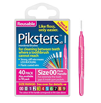 Piksters Interdental Brush Pack Of 40 Ultra Fine Size 00 Pink