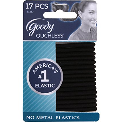 Goody Ouchless Elastic Hair Bands, No-metal, Black, 17 count