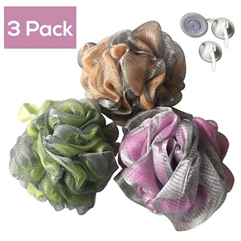 Luxury Bath Pouf Soft Mesh Double Layer Set of 3 Pack Shower Puff Exfoliating / Cleansing Loofah Luffa Body pouf Mesh For Men / Women