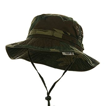 MG Mens Washed Cotton Twill Chin Cord Outdoor Hunting Hat (Camo Green, Medium)