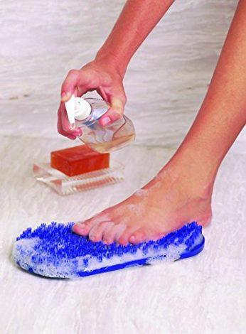 Body & Sole Soapy Soles Foot Scrubber & Massager (Pearl Blue) -- Foot-shaped Pad that Suctions to a Tub or Shower Floor Provides a Soft Bristled Surface for Cleaning and Invigorating Feet Liquid Soap Sample Included