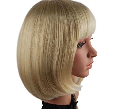 eNilecor Short Bob Hair Wig 12'' Straight Flat Bangs Cosplay Wigs (Light Blonde)
