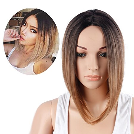 Netgo Black and Brown Ombre Bob Wig Short Straight Synthetic Full Wigs for Black Women