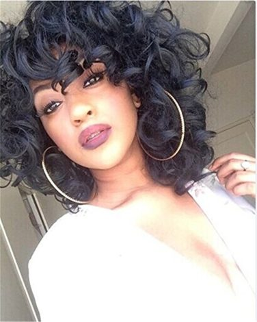 5I Kinky Curly Hair Wigs for Black Women Fluffy Wavy Black Synthetic Wig Natural Looking Heat Resistant Wigs with Wig Cap Z014