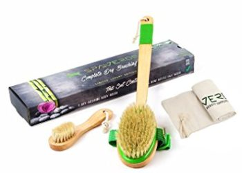 SpaVerde Natural Boar Bristle Body Brush and Face Brush Set for Dry Brushing, Bath and Shower, Green