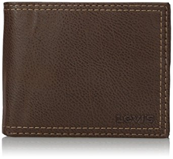 Levi's Men's Extra Capacity Leather Slimfold Wallet, Brown, One Size
