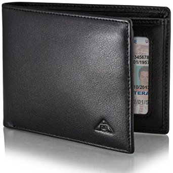 Motion Trend Men's RFID Wallet - Leather RFID Blocking Wallet, Slim Black