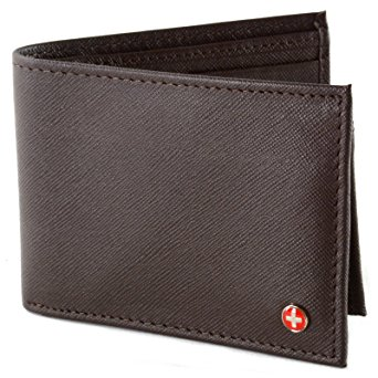 Alpine Swiss Men's 2-In-1 Bi-fold Wallet & Card Case, Crosshatch Brown