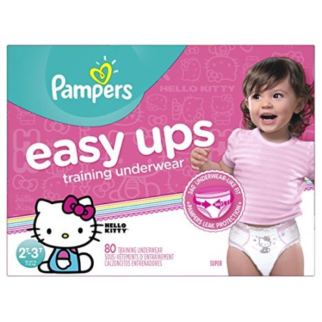 Pampers Easy Ups Training Underwear Girls 2T-3T (Size 4), 80 Count -- Packaging May Vary