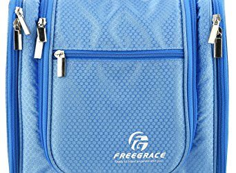 Premium Toiletry Bag By Freegrace - Extra Large Travel Essentials Organizer - Durable Hanging Hook - For Men & Women - Perfect For Accessories, Cosmetics, Personal Items, Shampoo (Sky Blue)