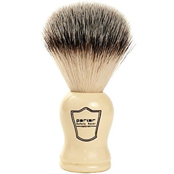 Parker Safety Razor SYNTHETIC Bristle Shaving Brush with Classic Ivory Handle -- Brush Stand Included