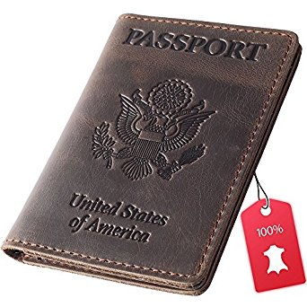 Rachiba Leather Passport Holder - USA Embossed Travel Document and Ticket Holder