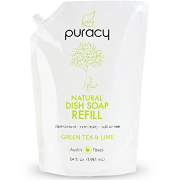 Puracy Natural Liquid Dish Soap 64 oz Refill, Sulfate-Free Dishwashing Detergent, Green Tea and Lime, 64-Ounce Refill Pouch