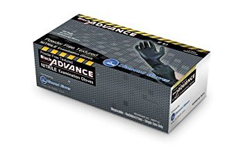 Diamond Gloves Black Advance Nitrile Examination Powder-Free Gloves, 6.3 mil, Heavy Duty, X-Large, 100 Count