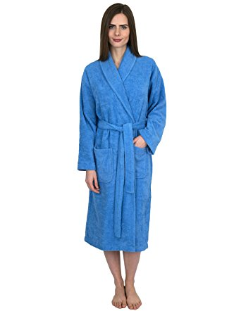 TowelSelections Women's Robe, Turkish Cotton Terry Shawl Bathrobe Small/Medium S. Lake Blue
