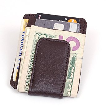 Printed grain cow hide leather money clip with magnet Brown