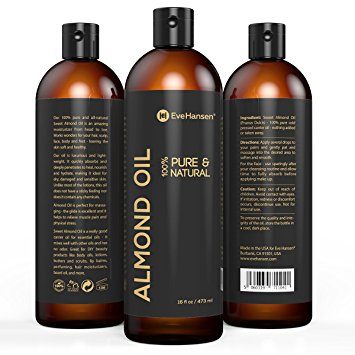 16oz SWEET ALMOND OIL - 100% Pure & Natural Moisturizer from Head to Toe & Best Carrier Oil - SEE RESULTS OR MONEY-BACK - Works wonders for your hair, scalp, face, body and feet. Perfect for massage.