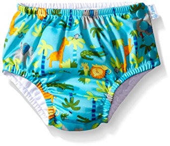 i play. Toddler Boys' Snap Reusable Absorbent Swim Diaper, Aqua Jungle, 3T