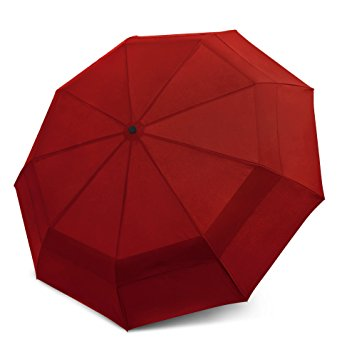 EEZ-Y Compact Travel Umbrella w/ Windproof Double Canopy Construction - Auto Open Close