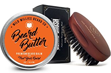 Organic Beard Butter Balm Conditioner, with Beard Brush- Natural Locally Sourced Ingredients That Condition and Style Your Beard or Mustache. Made in the USA