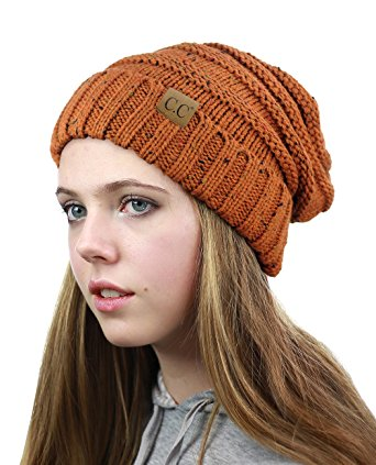 NYFASHION101 Oversized Baggy Slouchy Thick Winter Beanie Hat, Confetti Rust