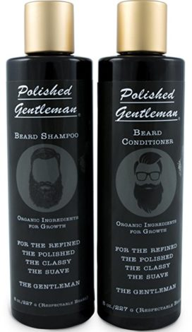 Polished Gentleman Beard Growth and Thickening Shampoo and Conditioner - With Organic Beard Oil - For Best Beard Look - For Facial Hair Growth - Beard Softener for Grooming