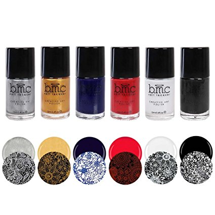 BMC 6pc 2nd Generation Creative Nail Art Stamping Polishes - Essentials: Primary