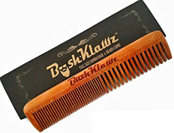 2Klawz Hair Comb for Men - Hair and Beard Comb with Wide & Fine Teeth Full Size 7""