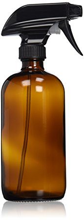 Empty Amber Glass Spray Bottle - Large 16 oz Refillable Container is Great for Essential Oils, Homemade Cleaning Products, Aromatherapy - Durable Black Trigger Sprayer w/ Mist and Stream Setting