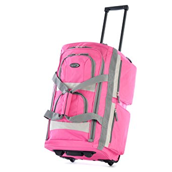 Olympia Luggage Sports Plus 22 Inch 8 Pocket Rolling Duffel Bag, Hot Pink, One Size