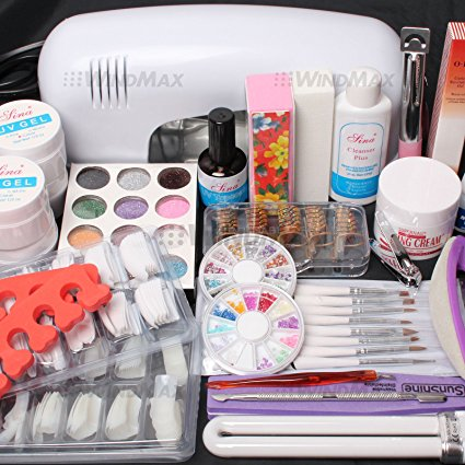 25 in 1 Combo Set Professional DIY UV Gel Nail Art Kit 9W Lamp Dryer Brush Buffer Tool Nail Tips Glue Acrylic Set #30 by RY