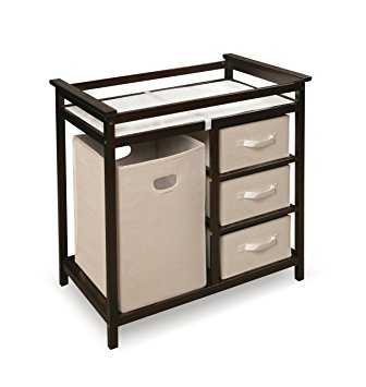 Badger Basket Modern Changing Table with Hamper/3 Baskets, Espresso