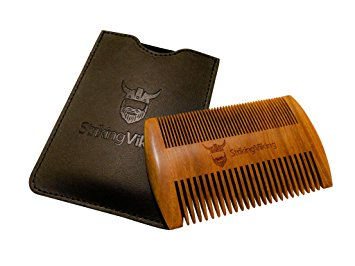 Wooden Beard Comb & Case - Fine & Coarse Teeth from Striking Viking - Anti-Static and Hypoallergenic Wood Pocket Comb For Beards & Mustaches