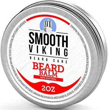 Beard Balm With Shea Butter & Argan Oil - Leave in Wax Conditioner for Men - Styles & Strengthens Hair - 2OZ - Smooth Viking