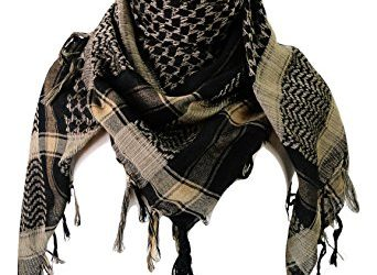 Premium Shemagh Head Neck Scarf - Black/Camel