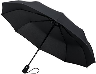 Crown Coast Black Travel Umbrella - 60 MPH Windproof Lightweight for Men Women and Kids, Compact Travel Umbrellas in Multiple Colors