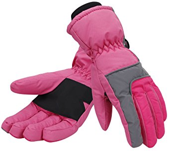 Simplicity Women 3M Thinsulate Lined Waterproof Snowboard / Ski Gloves,S,Pink
