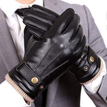 WARMEN Mens Touchscreen Texting Winter PU Faux Leather Gloves Driving Long Fleece Lining Black - Wool/Cashmere Blend Cuff (10, Black (Touchscreen))