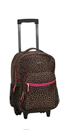 Rockland Luggage 17 Inch Rolling Backpack, Pink Leopard, One Size