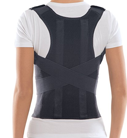 "TOROS-GROUP Comfort Posture Corrector and Back Support Brace, Back Pain Relief for Men and Women / 100%-Cotton Liner - X-Small, Waist/Belly 23½"" - 27½"" Black"