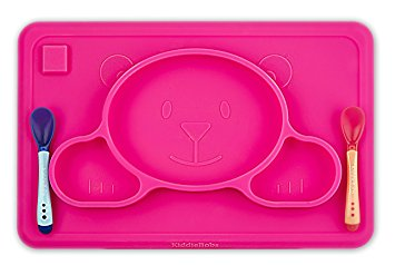 Toddler Placemat + 2 Spoons - No More Mess - BPA Free Silicone Plate Set - Improved Non-slip Suction - Baby Table Place Mat for Babies, Infants, Toddlers, Kids - Portable Travel Bowl Spoons Pink