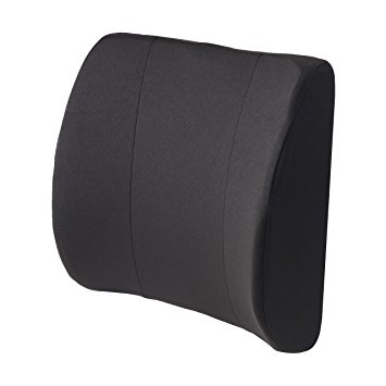 Duro-Med Relax-A-Bac, Lumbar Cushion, Lower Back Support Pillow With Wooden Lumbar Support Board and Alignment Strap, Black