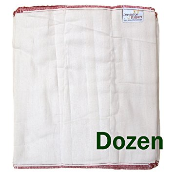 Dandelion Diapers 100% Organic Cotton Natural Unbleached DSQ Cloth Diaper Prefolds - Compare to Osocozy - Dozen 12 Count - Size 3 Infant Pinless Prefold