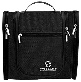 Premium Toiletry Bag By Freegrace - Extra Large Travel Essentials Organizer - Durable Hanging Hook - For Men & Women - Perfect For Accessories, Cosmetics, Personal Items, Shampoo (Black)