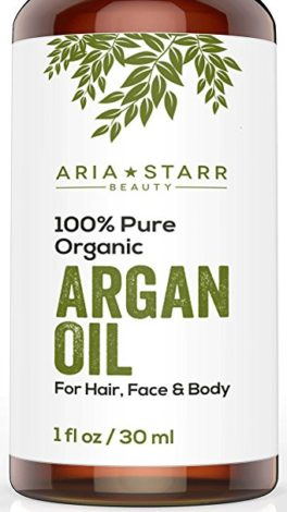 Aria Starr Beauty ORGANIC Argan Oil For Hair, Skin, Face, Nails, Beard & Cuticles - Best 100% Pure Moroccan Anti Aging, Anti Wrinkle Beauty Secret, Certified Cold Pressed Moisturizer 1oz